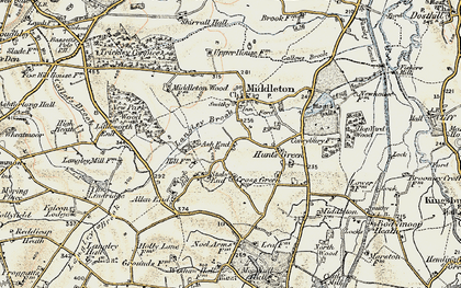 Old map of Langley Brook in 1901-1902