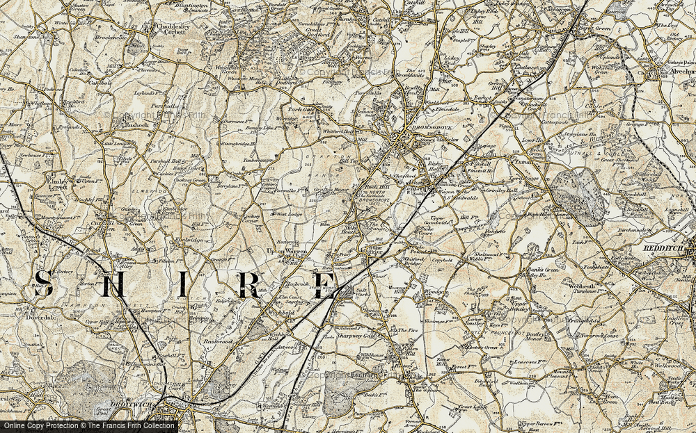 Old Map of Historic Map covering Avoncroft Mus in 1901-1902
