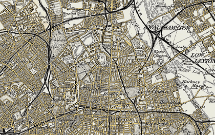 Old map of Stoke Newington in 1897-1898