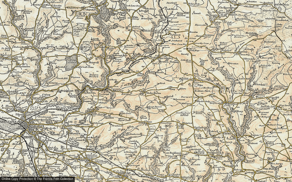 Old Map of Historic Map covering Yarde in 1900