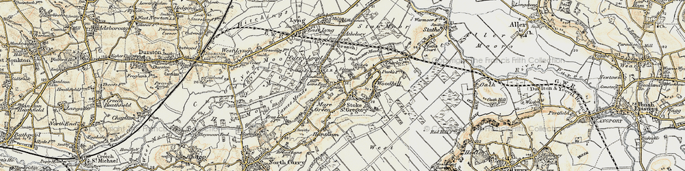 Old map of Stoke St Gregory in 1898-1900
