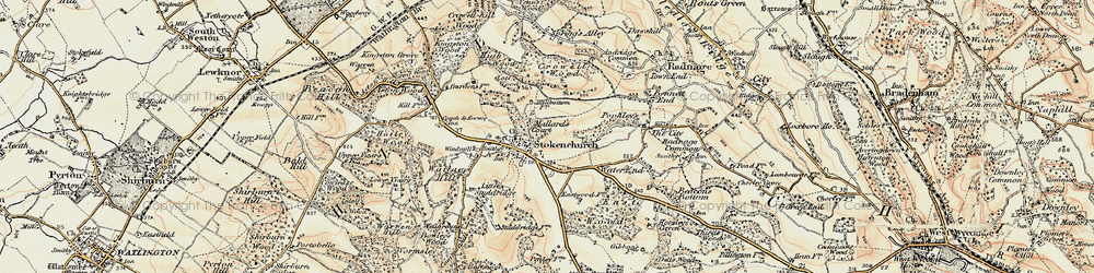 Old map of Stokenchurch in 1897-1898