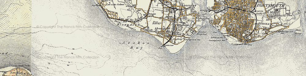 Old map of Stokes Bay in 1897-1899