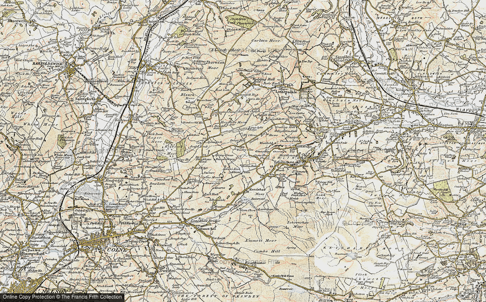 Old Map of Historic Map covering Laneshaw Resr in 1903-1904