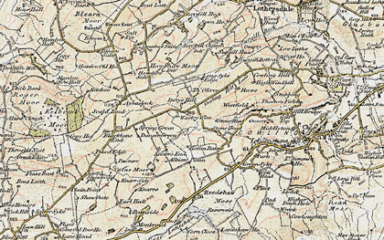 Old map of Laneshaw Resr in 1903-1904