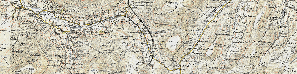 Old map of Widdale Great Tarn in 1903-1904
