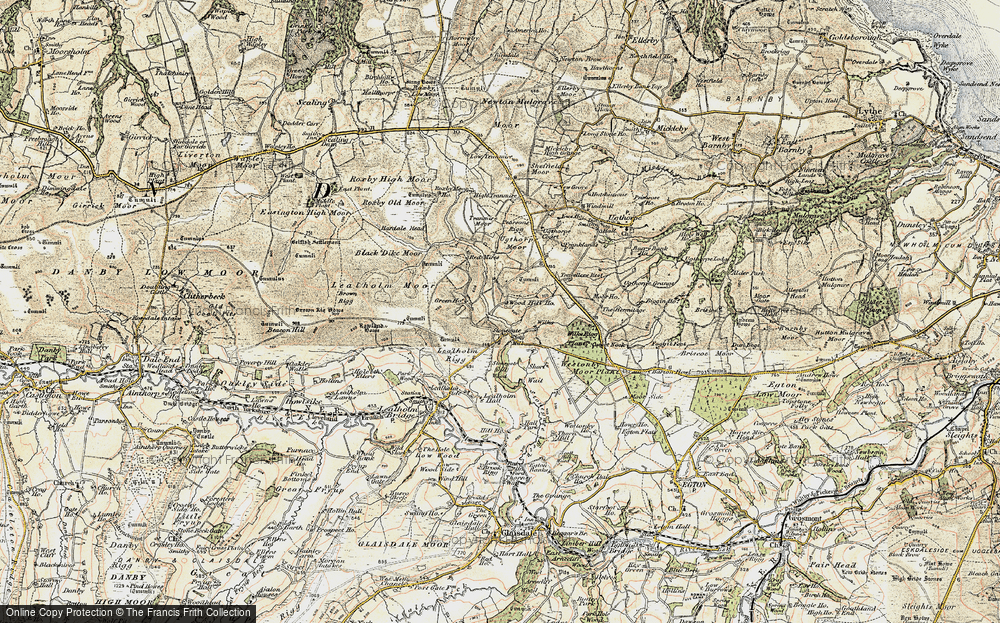 Old Map of Historic Map covering Westonby Plantn in 1903-1904