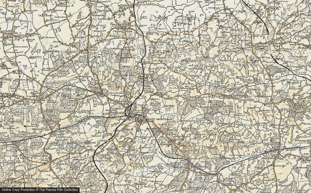 Old Map of Historic Map covering Ashplats Wood in 1898-1902