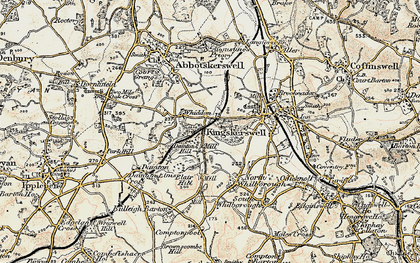 Old map of Whiddon in 1899