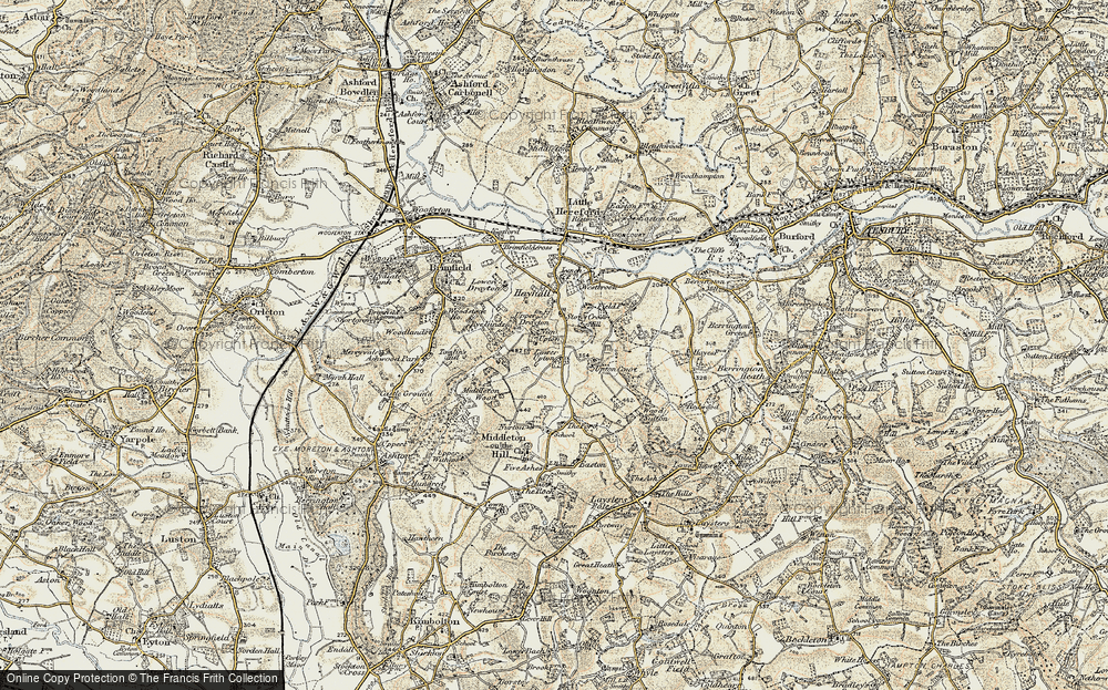 Old Map of Historic Map covering Wood Sutton in 1901-1902