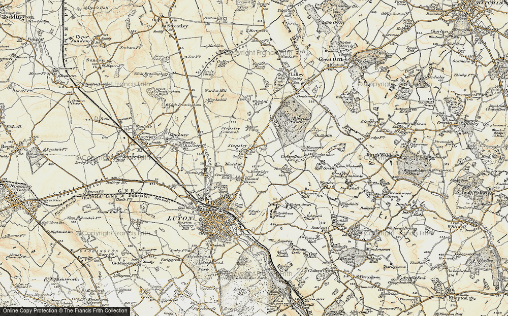 Old Map of Stopsley, 1898-1899 in 1898-1899