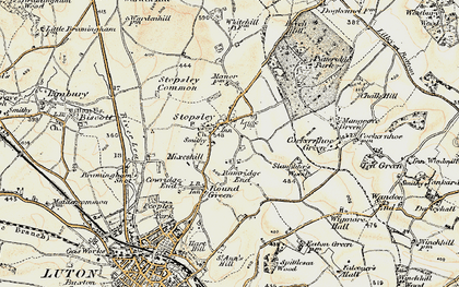 Old map of Stopsley in 1898-1899