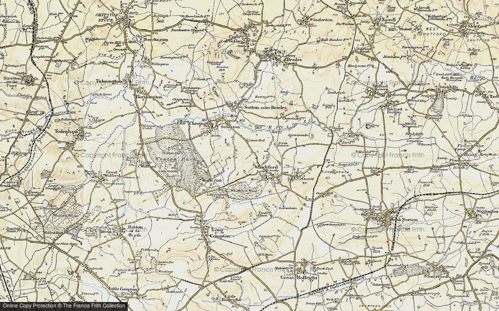 Old Map of Historic Map covering Lanes End Fm in 1899-1901