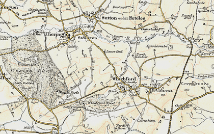 Old map of Whichford Mill in 1899-1901