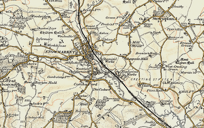 Old map of Stowmarket in 1899-1901