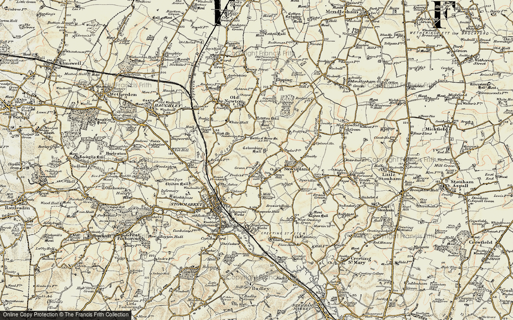 Old Map of Stowupland, 1899-1901 in 1899-1901