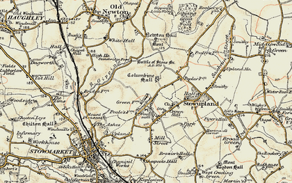 Old map of Stowupland in 1899-1901