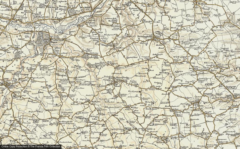 Old Map of Stradbroke, 1901-1902 in 1901-1902