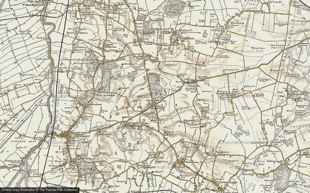 Old Map of Historic Map covering Toombers Wood in 1901-1902