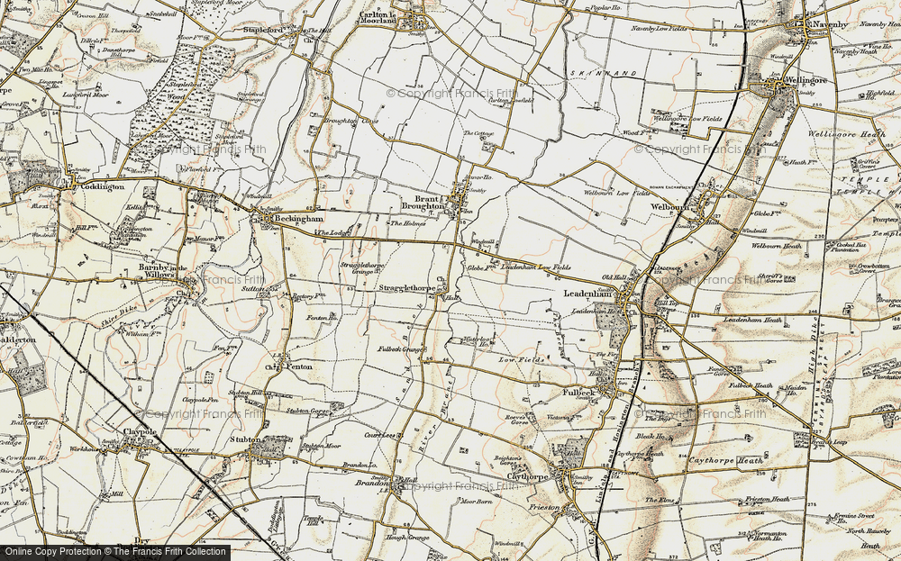 Old Map of Historic Map covering Leadenham Low Fields in 1902-1903