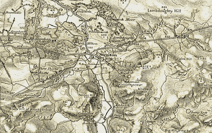 Old map of Baing Burn in 1904-1905