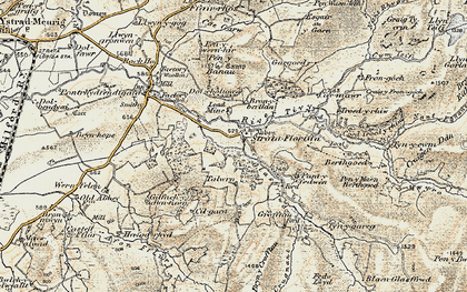 Old map of Afon Fflûr in 1901-1903