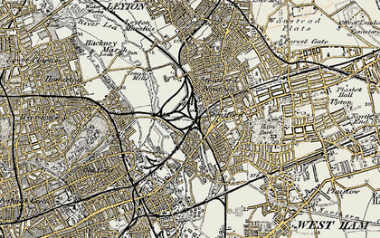 Old map of Stratford New Town in 1897-1902