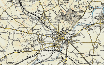 Old Map Of Stratford Upon Avon In 1899 1902