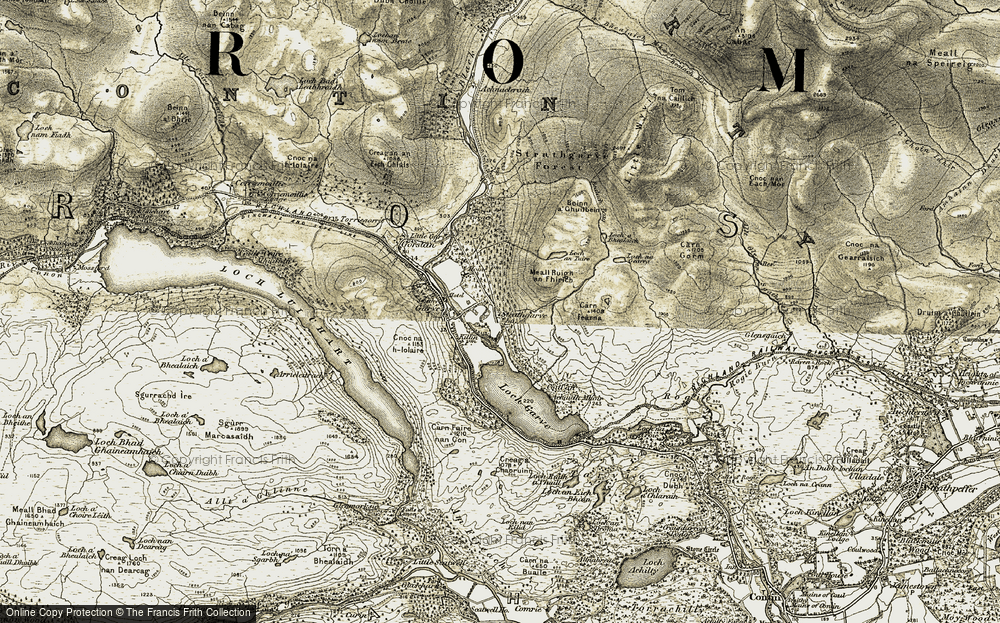 Old Map of Historic Map covering Achadh Mòr in 1908-1912