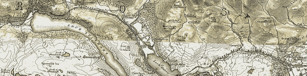 Old map of Achadh Mòr in 1908-1912