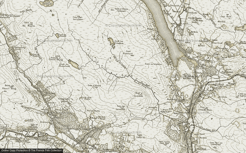 Old Map of Historic Map covering Allt Loch na Caillich in 1910-1912
