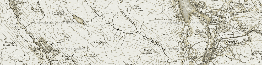 Old map of Allt Loch na Caillich in 1910-1912