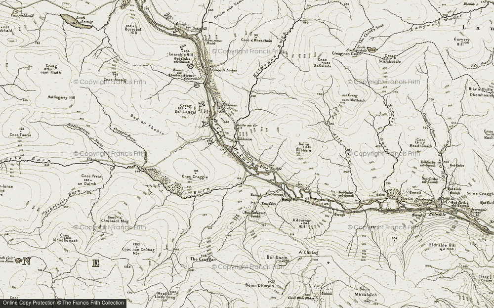 Old Map of Historic Map covering Tom na h-Iolaire in 1911-1912
