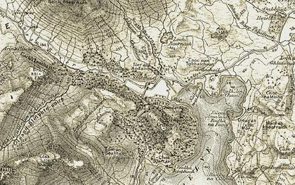 Old map of Abhainn Bhearnach in 1906-1907