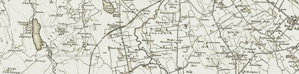 Old map of Achardale in 1911-1912