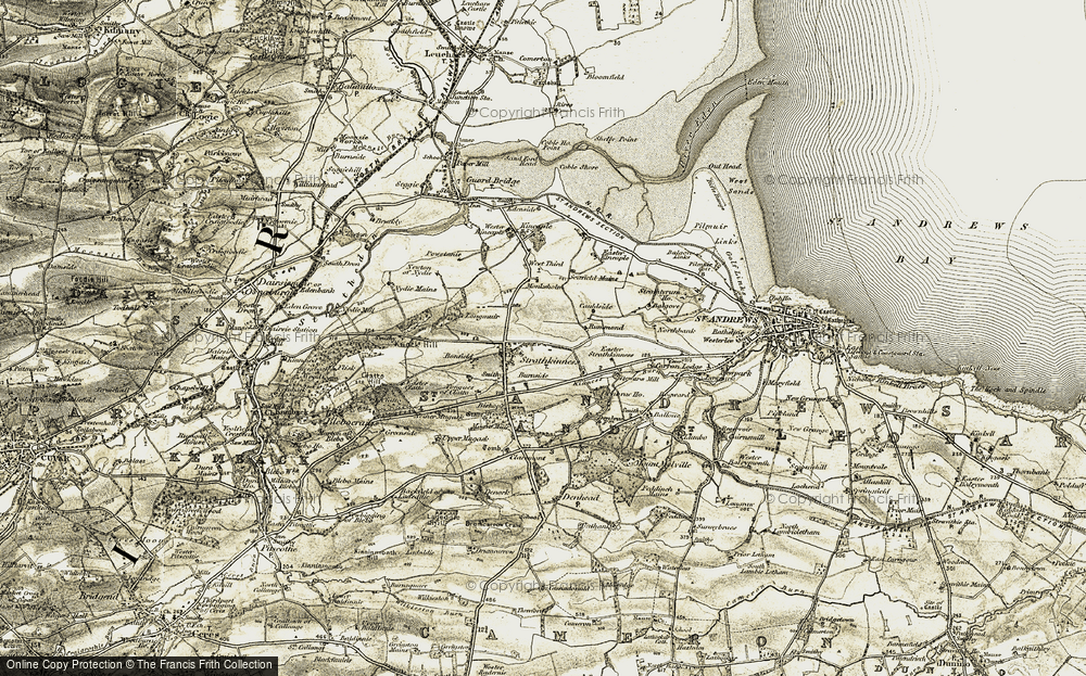 Old Map of Historic Map covering Tongues of Clatto in 1906-1908