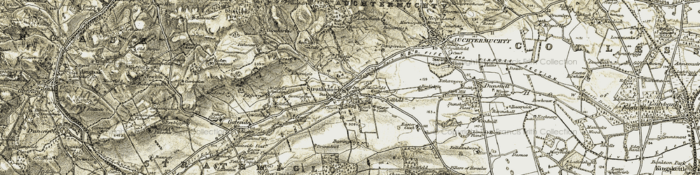 Old map of Wester Cash in 1906-1908
