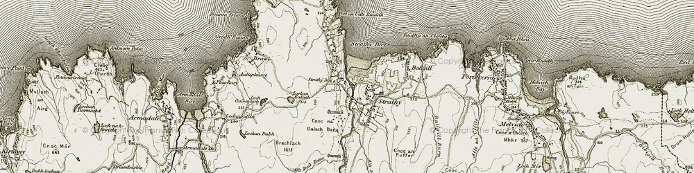 Old map of Allt Dail Teine in 1910-1912