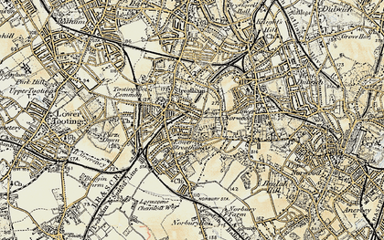 Old map of Streatham in 1897-1902