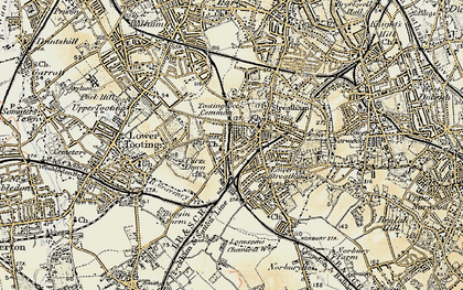 Old map of Tooting Bec Common in 1897-1902