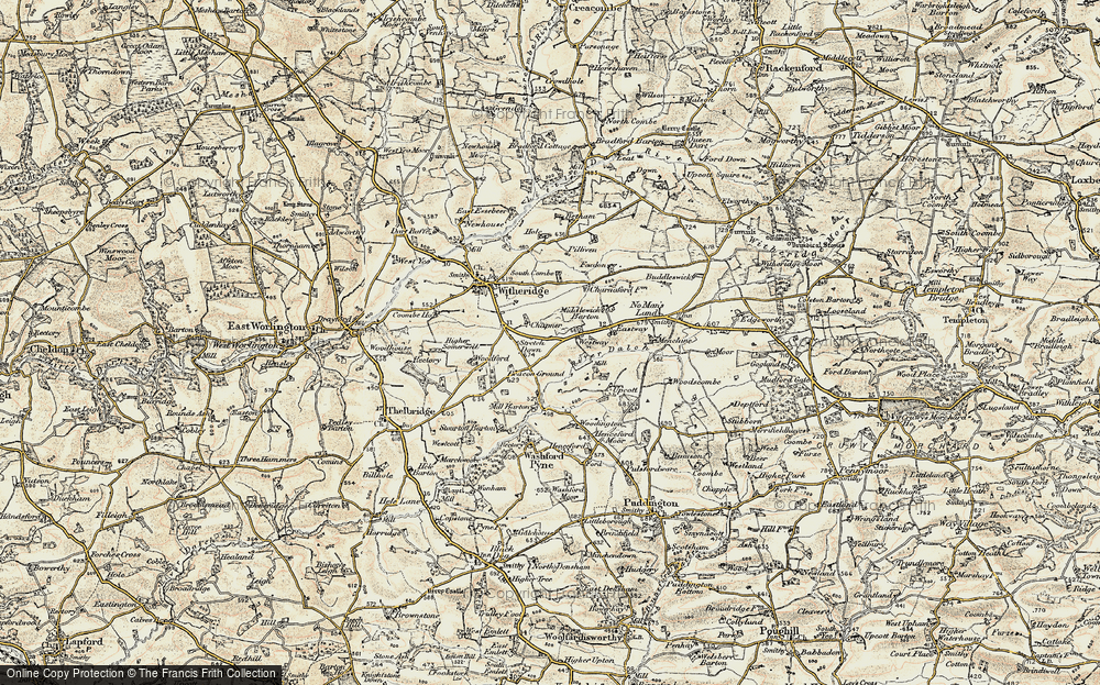 Old Map of Historic Map covering Woodington in 1899-1900