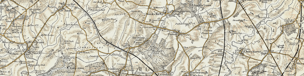 Old map of Stretton under Fosse in 1901-1902
