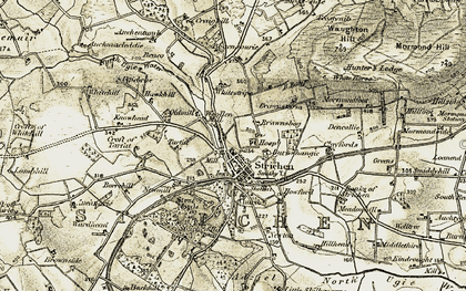 Old map of Adziel in 1909-1910