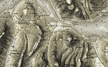 Old map of Allt Mhic Leanain in 1908-1909