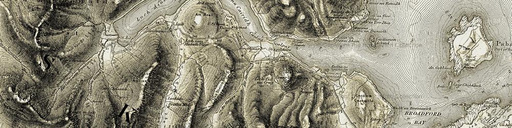 Old map of Allt Strollamus in 1908-1909