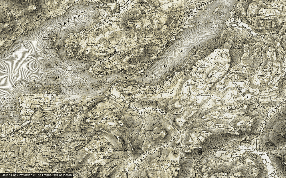 Old Map of Historic Map covering Allt Cadh an Eas in 1908-1909