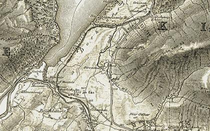 Old map of Allt Ruaraidh in 1906-1908