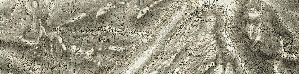 Old map of Abhainn Sròn a' Chreagain in 1906-1908