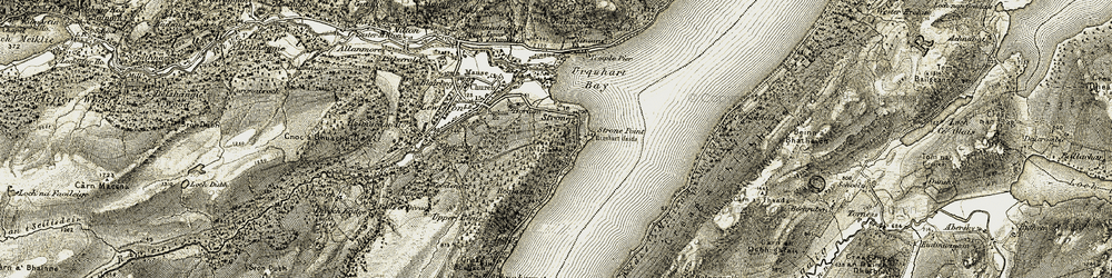 Old map of Urquhart Castle in 1908-1912