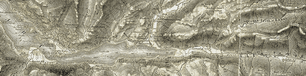 Old map of Tom an t-Sìthein in 1906-1908